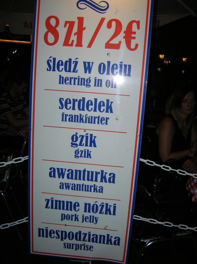 Bar food menu in Poznan