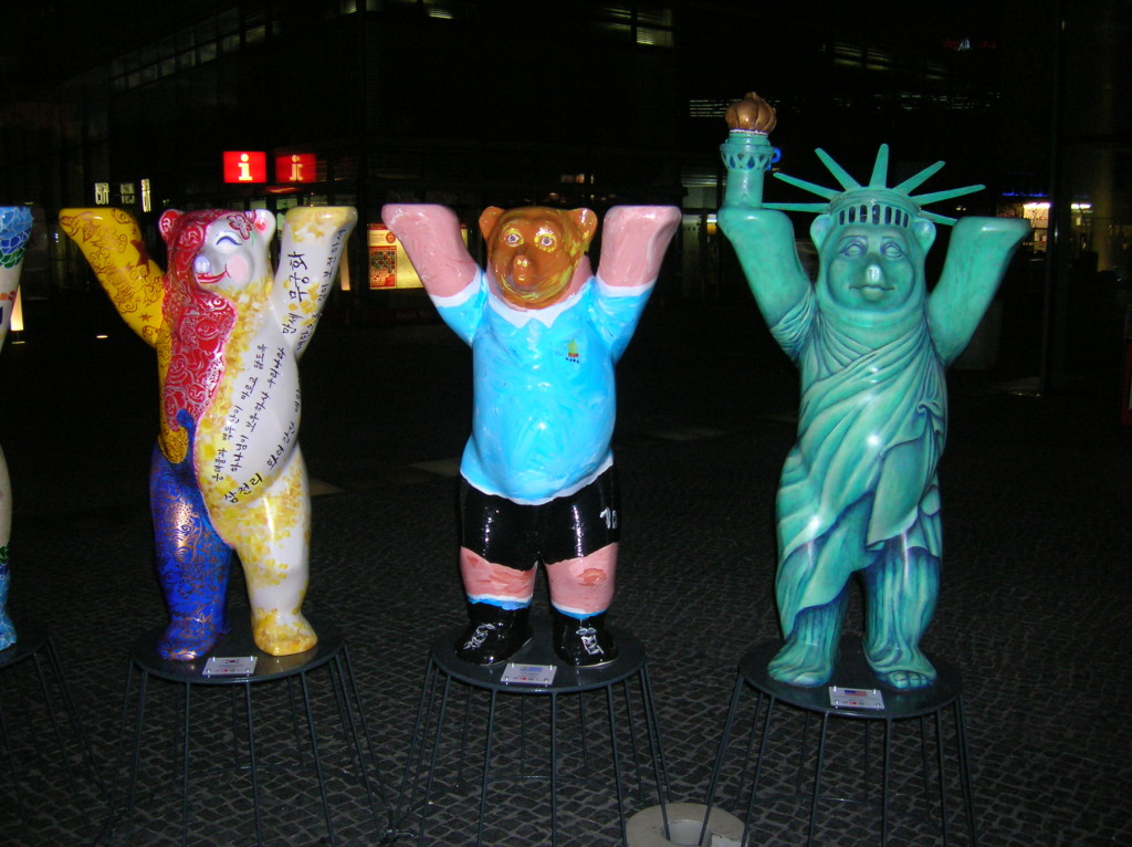 Some mini-bears for the World Cup -- U.S. is on the right