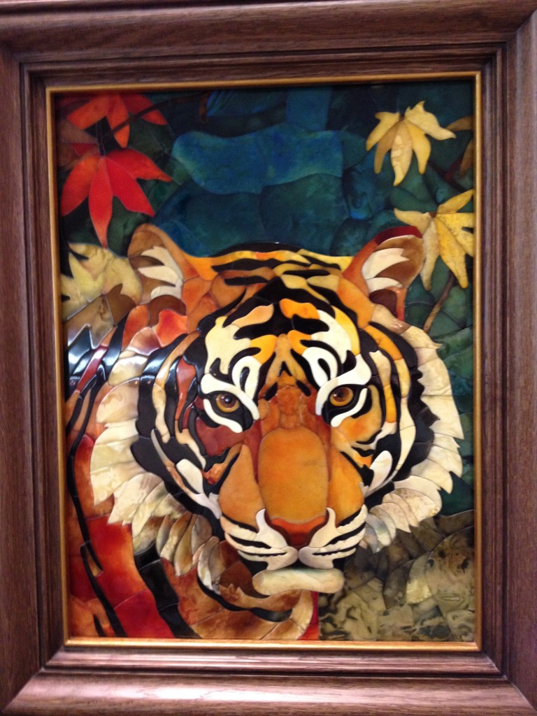 Amber tiger portrait