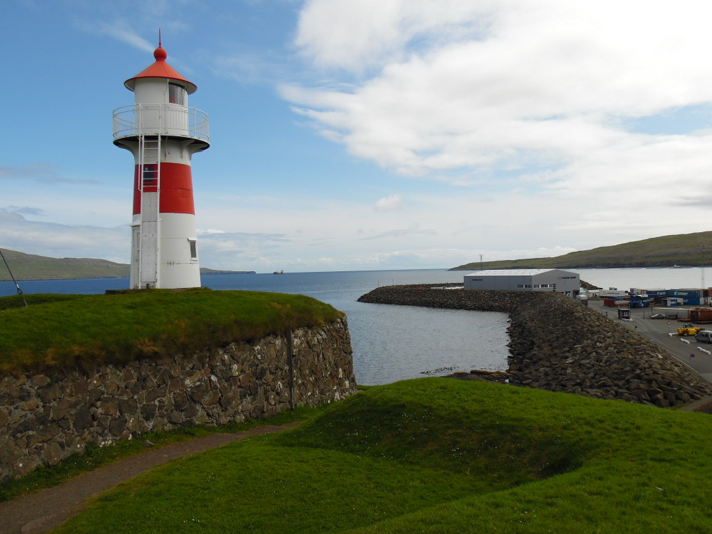 The lighthouse at the entrance to the harbor in Torshavn