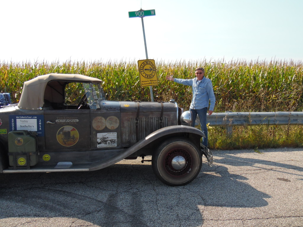 Finally, the Roadster next to a YT sign along our afternoon road adventure