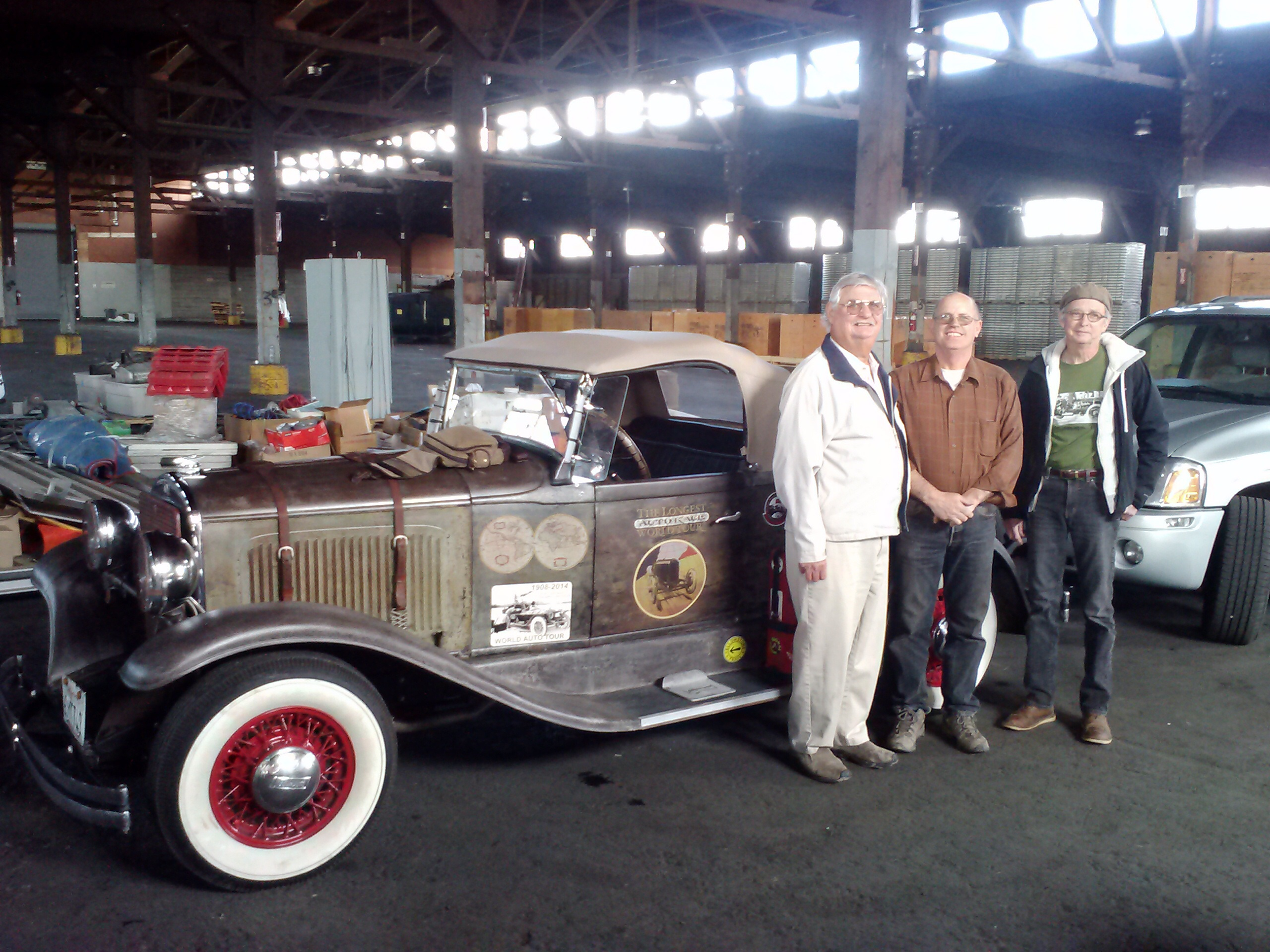 Leo, Luke and me with my 1928 Plymouth...our fourth tour member, Eileen Was not available for pic.