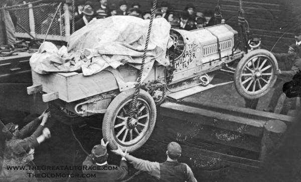 Loading the Flyer in Seattle  for shipping to Japan...1908