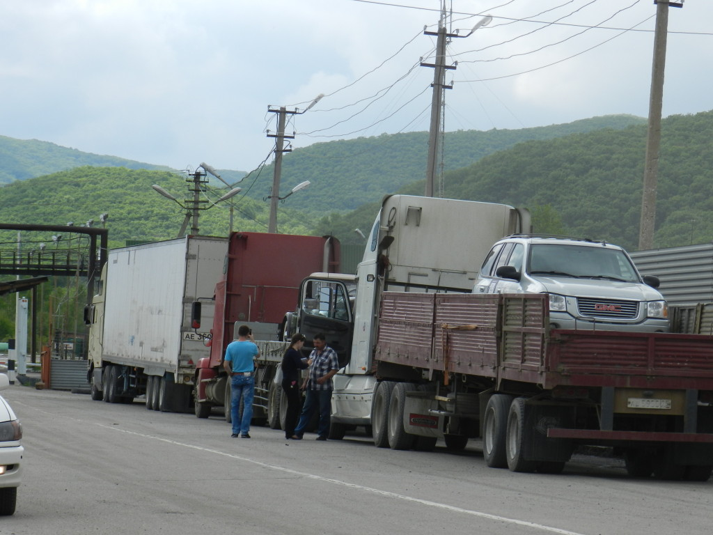 Cars waiting at the border