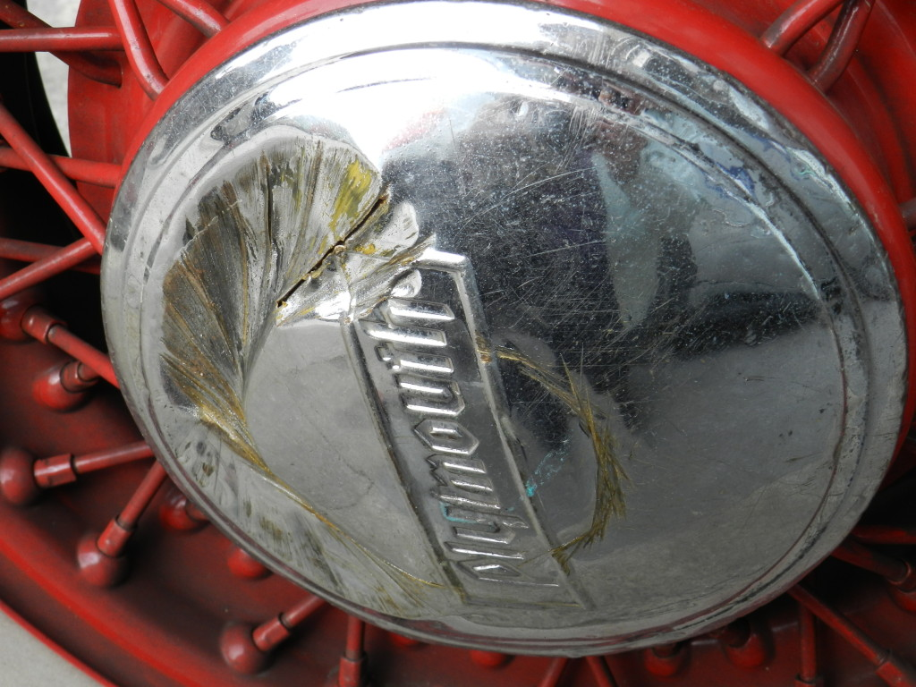 The distressed hubcap