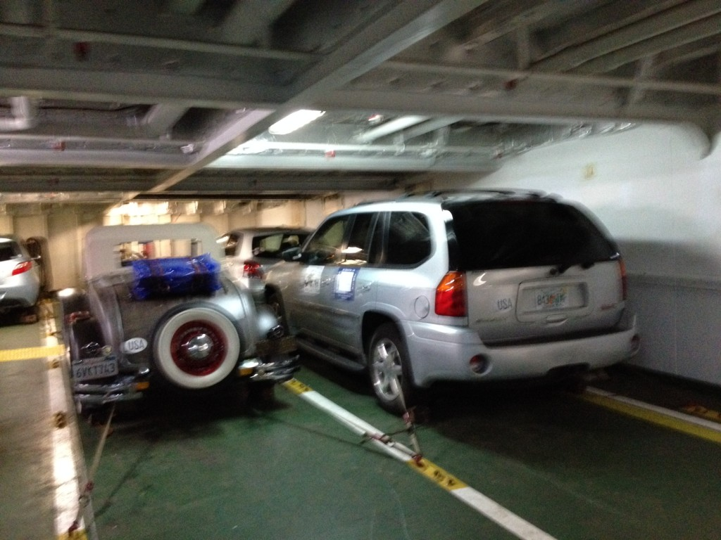 Cars loaded on the ferry
