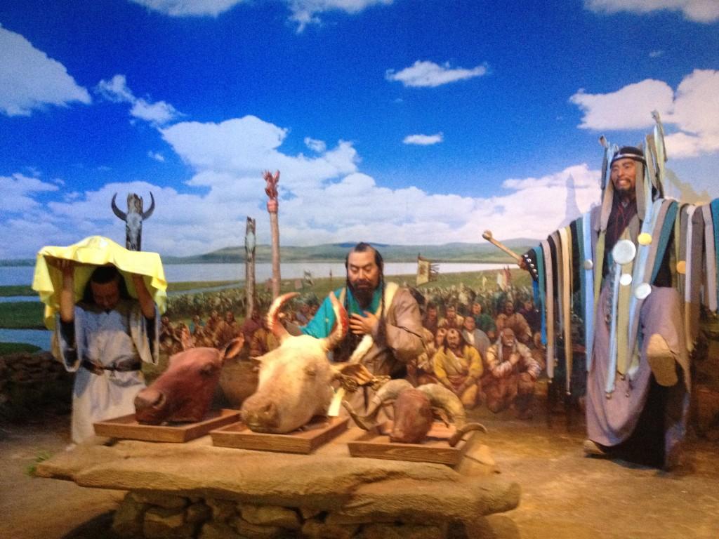 Museum diorama of Mongolian history