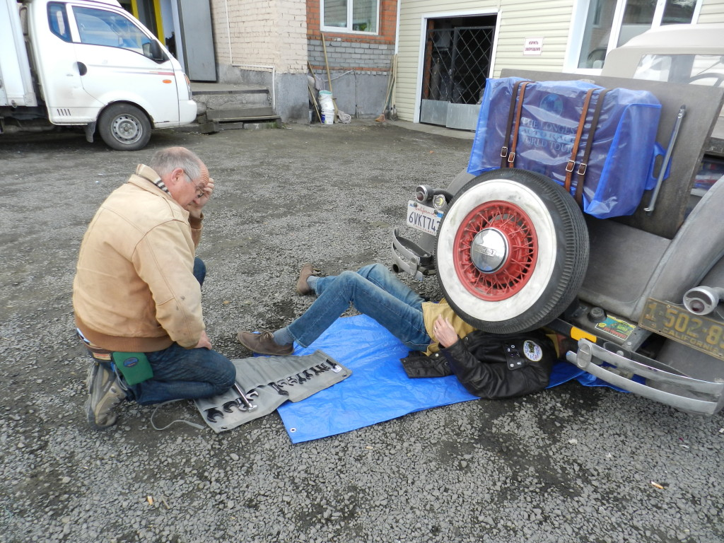 Checking the Roadster to be sure it will make it to Novosibirsk