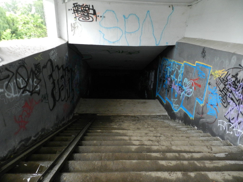 Steps leading to tunnel under the Siberian Railway