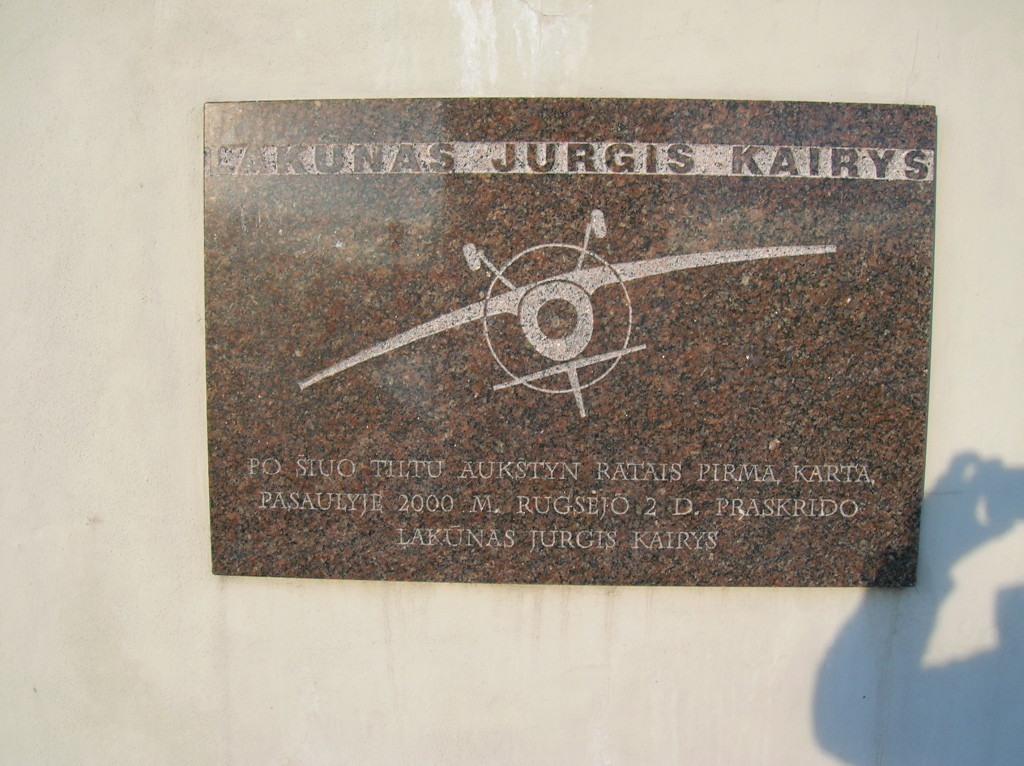 Plaque the flight under the bridge by aerobatic pilot Lakunas Jurgis Kairys