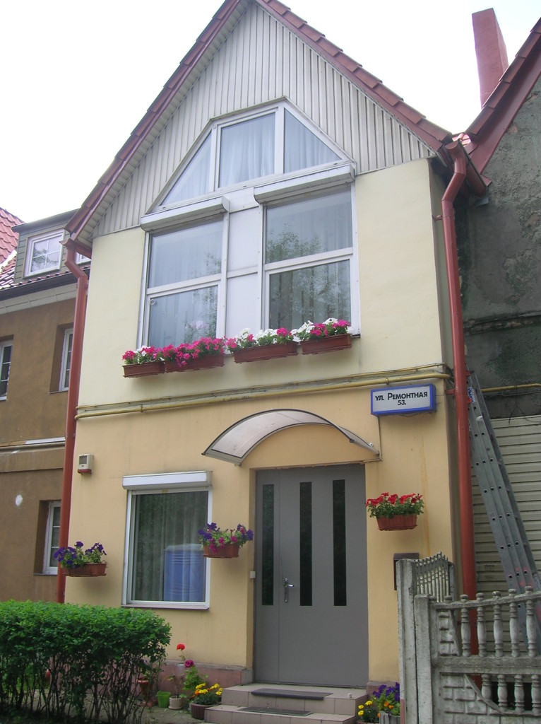 Restored row house in the old working section of Kaliningrad
