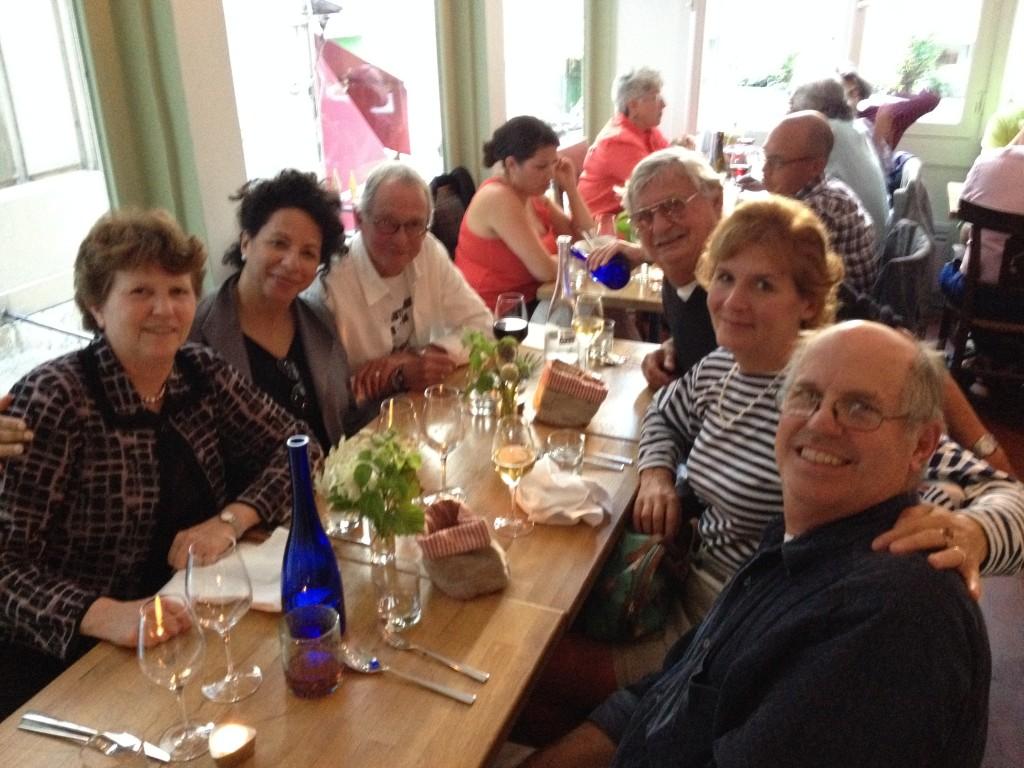 Farewell Dinner: L-R Eileen Bjorkman, Susan Wills-Quam (John's wife), John Quam, Leo Jannsens, Karen Bradbury, Luke Rizzuto