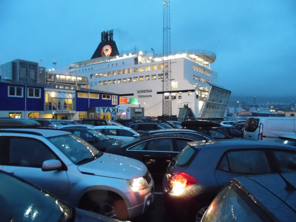 Waiting to board the ferry taking us from the Faroe Islands to Hirtshal, DK....rainy, windy night