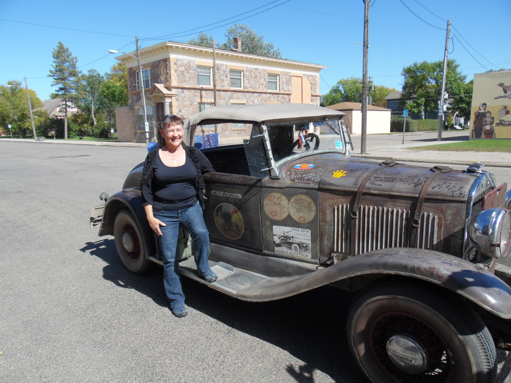 Our new friend Glorya on Main St in Ipswich, SD