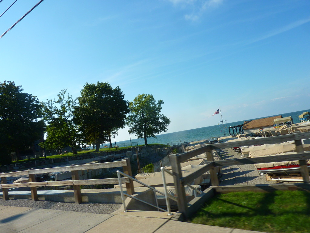 Finally the shoreline of Lake Erie just past Cleveland